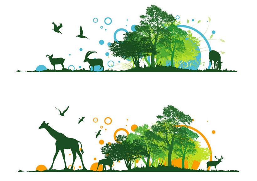 几何,计算机图形,翱翔,合成,图画,飞,画,树,树木,绿色,自然,动物,活泼