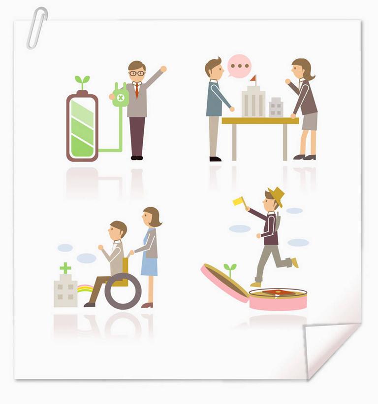 商务男性,办公室,医院,站,坐,走,举,说,竖图,插画,室内,白天,白色背景