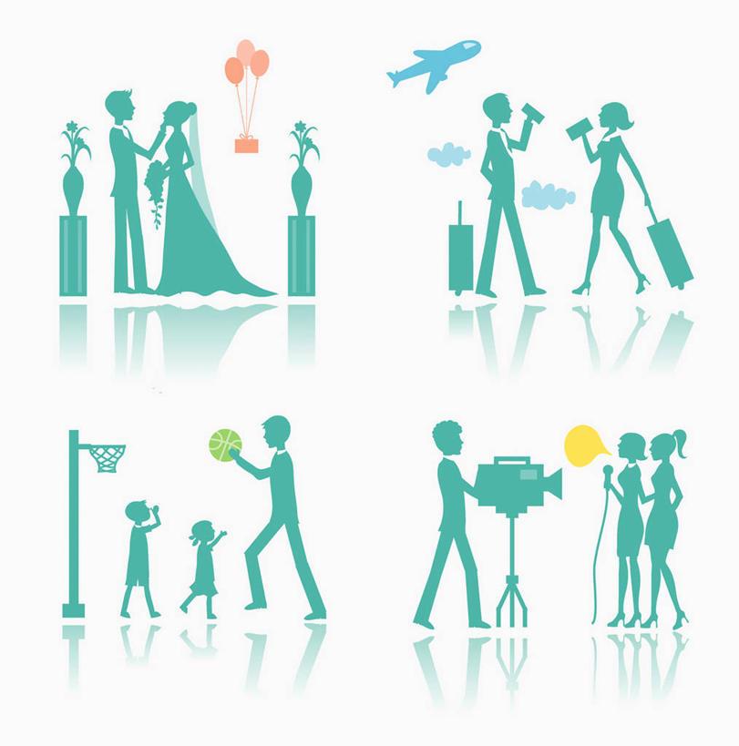 商务人士,商务男性,商务女性,站,举,竖图,插画,室内,白天,白色背景
