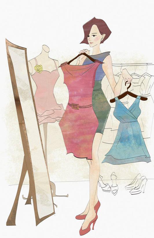 东方人,一个人,无人,商店,站,竖图,插画,室内,白天,正面,高跟鞋,裙子图片