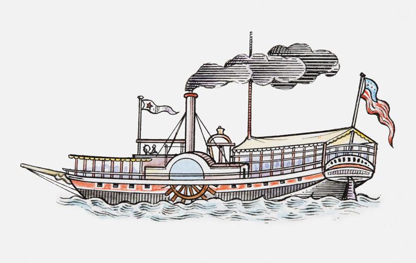 无人,横图,室内,白天,白色背景,正面,绘画,烟囱,海浪,海洋,轮船,船
