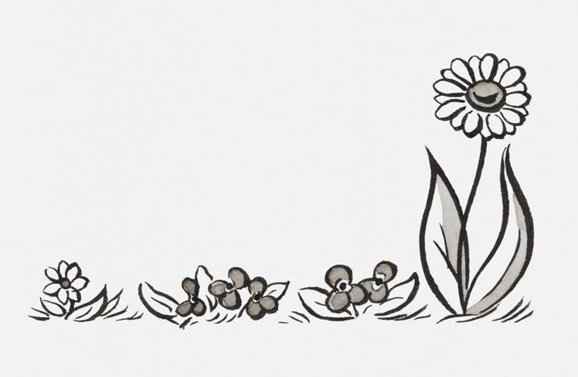 横图,黑白,室内,白天,白色背景,正面,爱情,绘画,幸福,太阳,向日葵