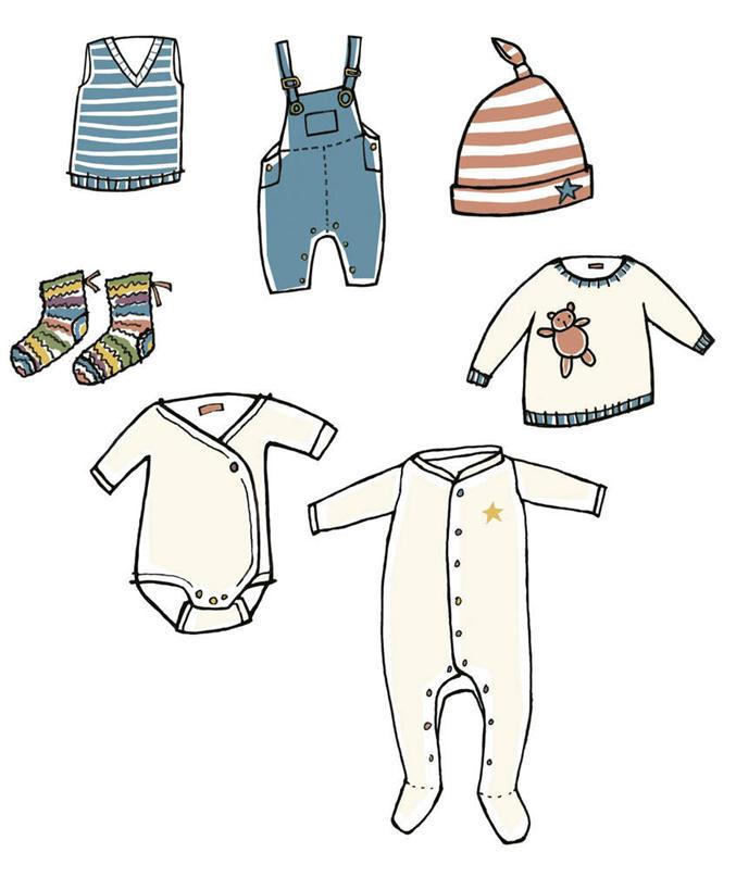 无人,竖图,俯视,插画,室内,白天,白色背景,婴儿服装,数码,科技,帽子