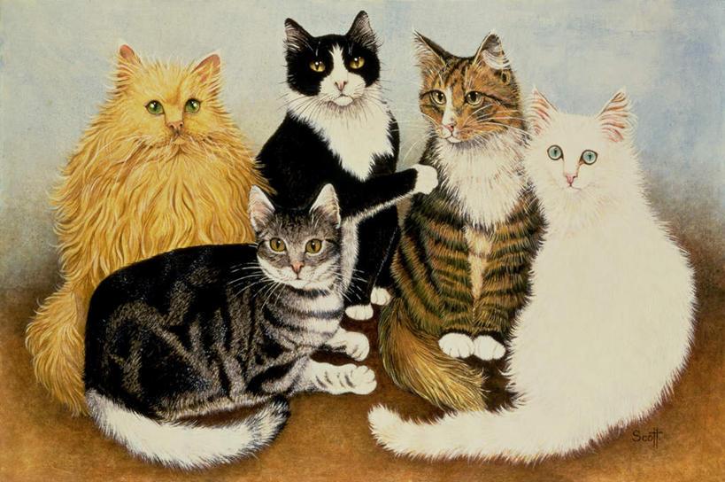可爱手绘猫咪坐着