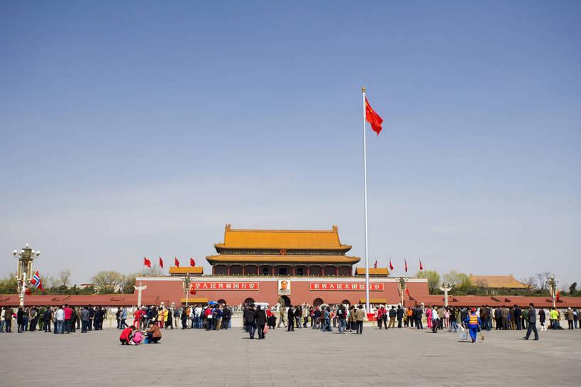 天安门,横图,彩色,室外,白天,旅游,城市,建筑,指示牌,国旗,北京