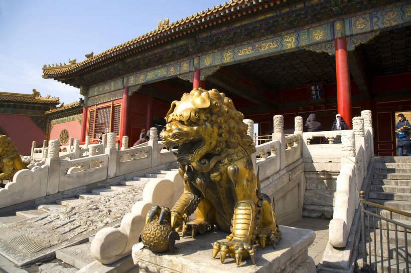 故宫,宫殿,横图,彩色,室外,白天,旅游,建筑,狮子,金属制品,雕塑,北京