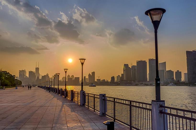 横图,室外,河流,日落,太阳,上海,中国,亚洲,地形,云,黄浦江,风景,天空