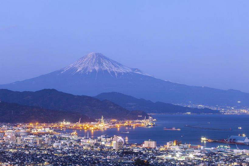 横图,室外,海洋,山,雪,富士山,静冈县,日本,海湾,风景,天空,黄昏,建造